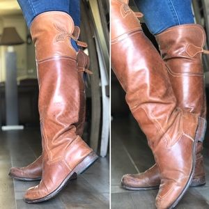 Cognac distressed genuine leather riding boots